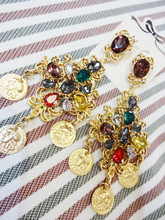 Royal vintage drop earrings ruslana korshunova multicolour glass gem earrings female portrait(China (Mainland))