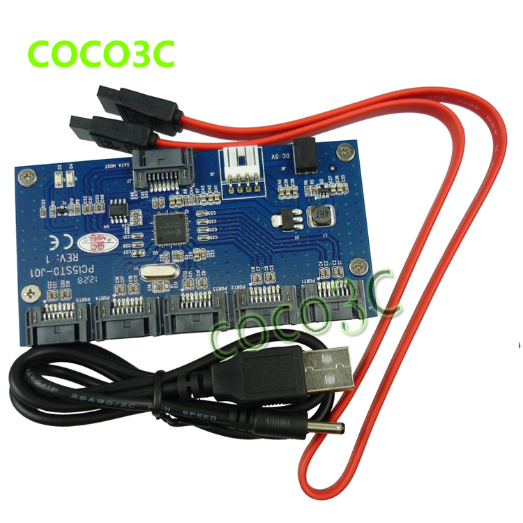 Free shipping 1 to 5 SATA 2.0 Port Multiplier Card adapter 3Gbps SATA II PM converter(China (Mainland))