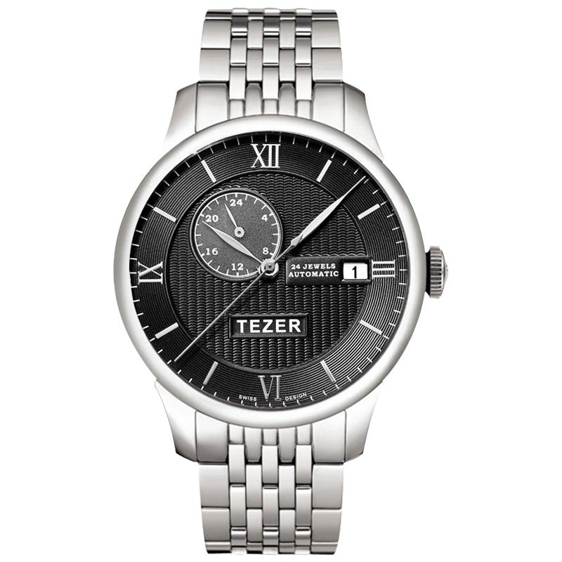 Фотография TEZER Men Watch Luxury Stainless Steel Strap Watches Business Men Auto Self-Wind Mechanical Wristwatch Waterproof with Auto Date