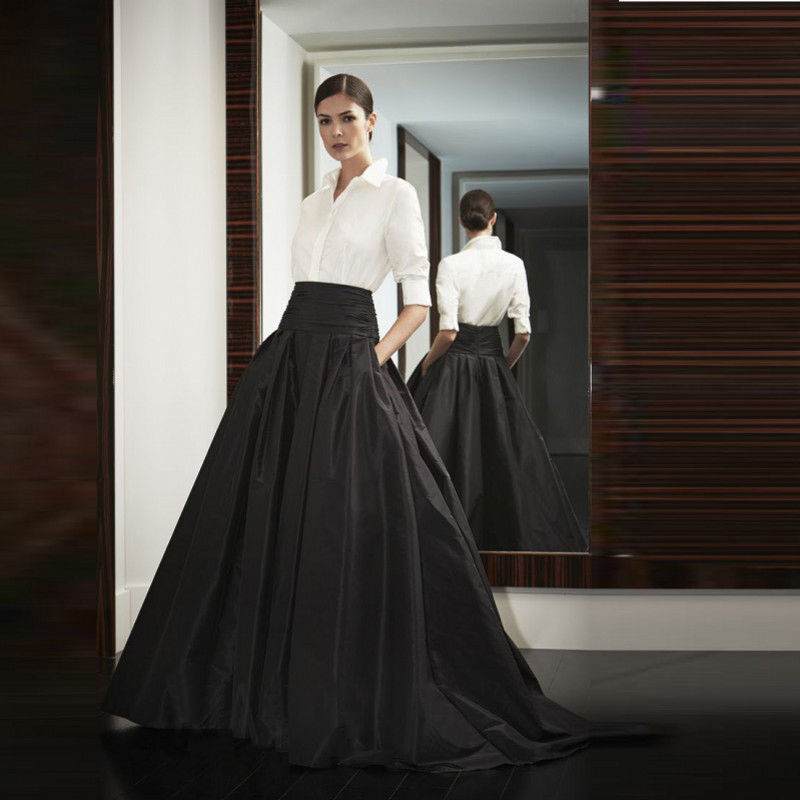 Satin Black Long Party Skirts Womens Ladies Prom Dress Skirt-in Skirts from Womenu0026#39;s Clothing ...