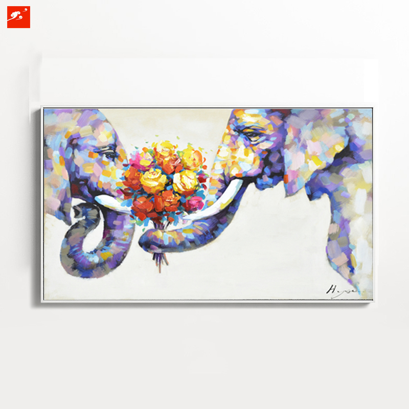 Wildlife Animal Wall Art Elephant Hand Painted Oil Painting On Canvas Print Decorative Picture For Bedroom Or Living room(China (Mainland))