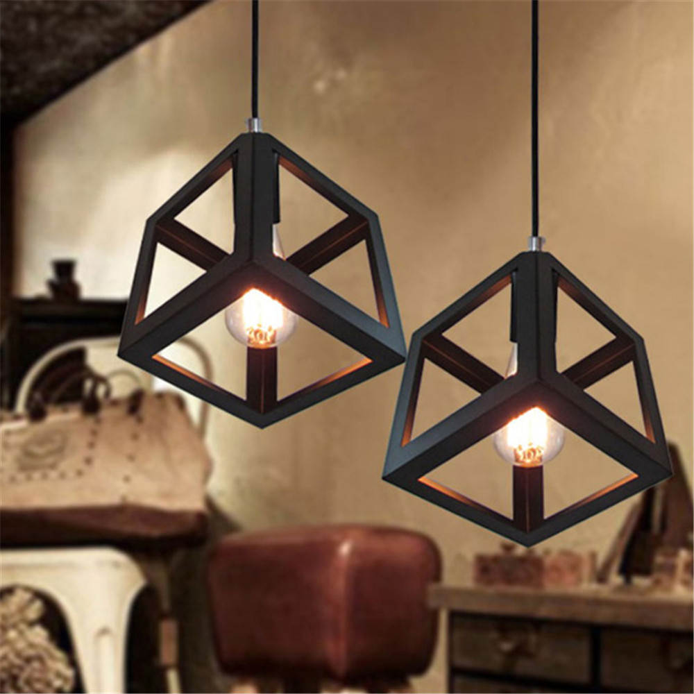 Square Loft Iron Pendant lights Vintage Industrial Lighting Lamp dinning room study garden library home decor - Mr store