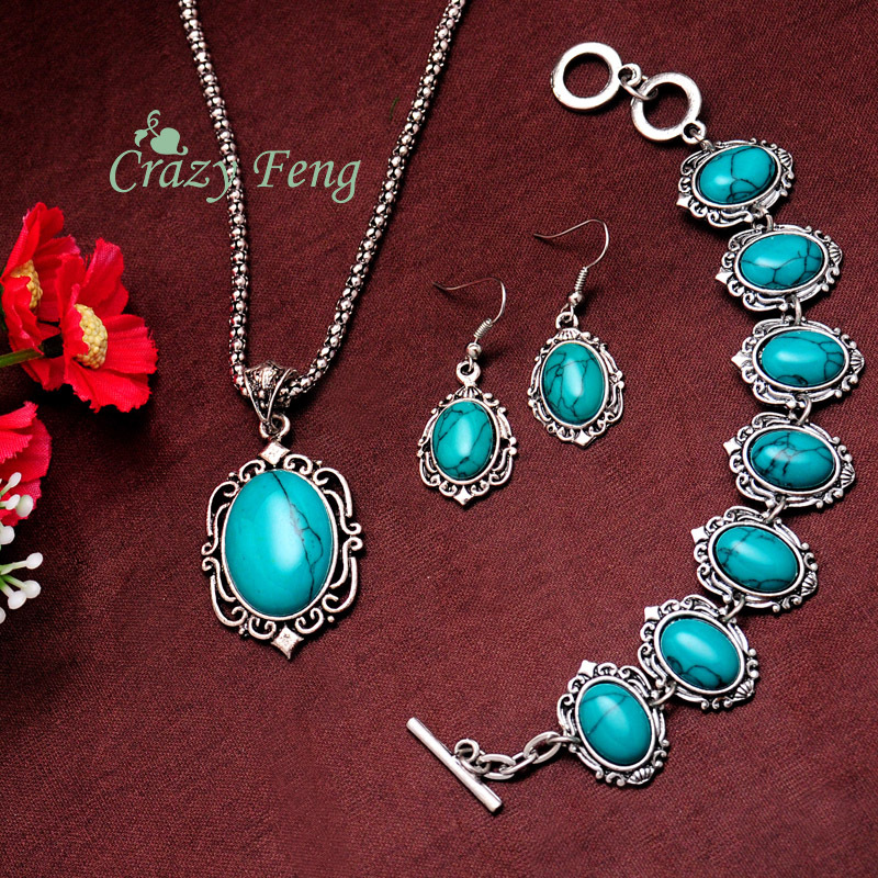 Women's Vintage Retro Silver Plated Oval Turquoise Stone Necklace Bracelet Earrings Sets Jewelry Sets Gifts Free shipping(China (Mainland))