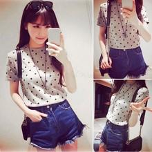 2015 summer casual women t shirt women tops print tee cotton polka dot women's T-shirts short sleeve camiseta feminina(China (Mainland))