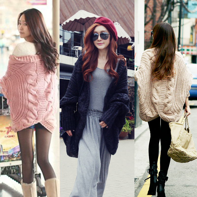 2014 Women Casual Thick Coat Full Batwing Sleeve Sweaters Loose Wraps Cardigans Knitting Needle Shawl Ladies Sweater - Fashion&Hair Beauty store