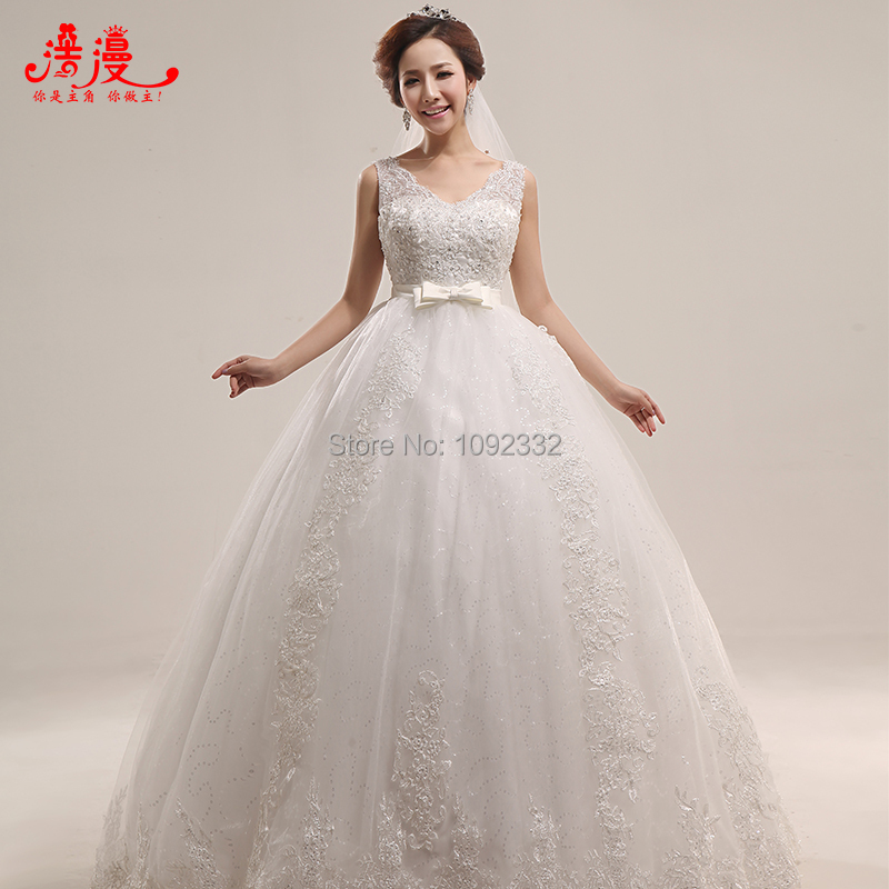 S new stock 2015 plus size women pregnant bridal gown high for Wedding dress in stock