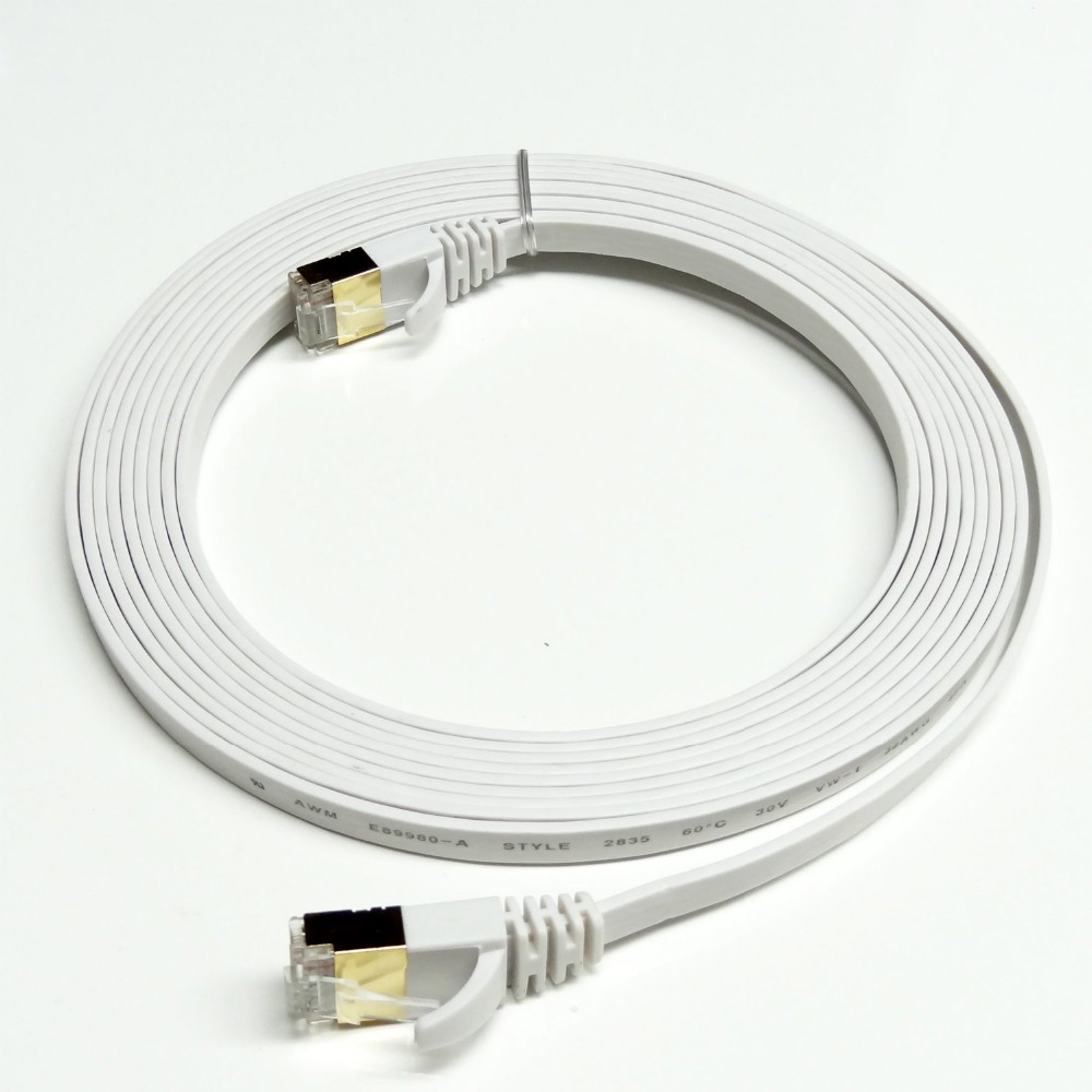0.5m 2m 3m 1.5ft 5ft 10ft 6ft 3FT 1M CAT7 RJ45 Patch flat Ethernet LAN Network Cable For Router Switch gold plated(China (Mainland))