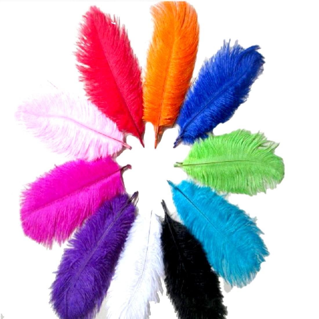 Новое поступление 10 шт. страусиных перьев 20 - 25 см свадебные украшения оперение аксессуары ремесла красивая 10 смешивания цветов