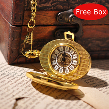 Luxury Golden Suits Men Pocket Watch Mechanical Hand Winding Necklace Vintage Casual Oval Pocket Watch With Chain Free Box PW225(China (Mainland))