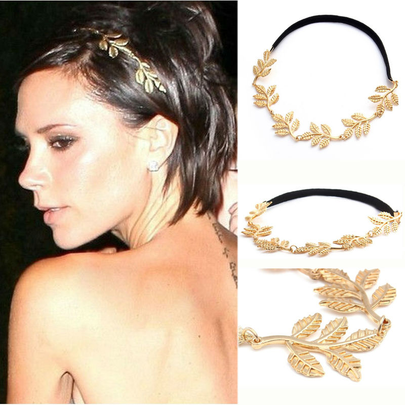 1 PC Fashion Gold Alloy Romantic Olive Branch Leaves Head Bands Women Elastic Hair Accessories Jewelry - Dreamland Store store