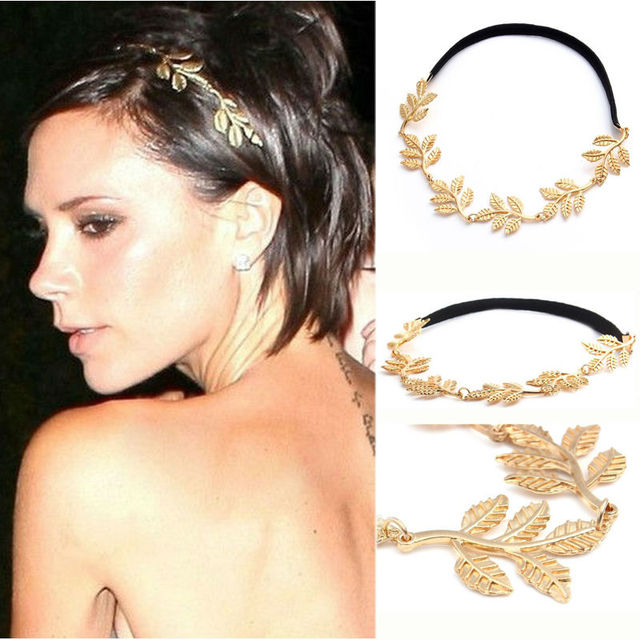 1 PC Fashion Gold Alloy Romantic Olive Branch Leaves Head Bands For Women Elastic Hair Accessories Jewelry