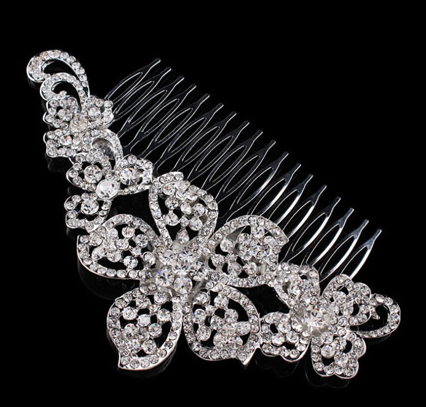 5.6 Large Vintage Style Dark Silver Tone Elegant Crystal Flower Bridal Hair Comb Accessory Wedding Headpiece Jewelry<br><br>Aliexpress