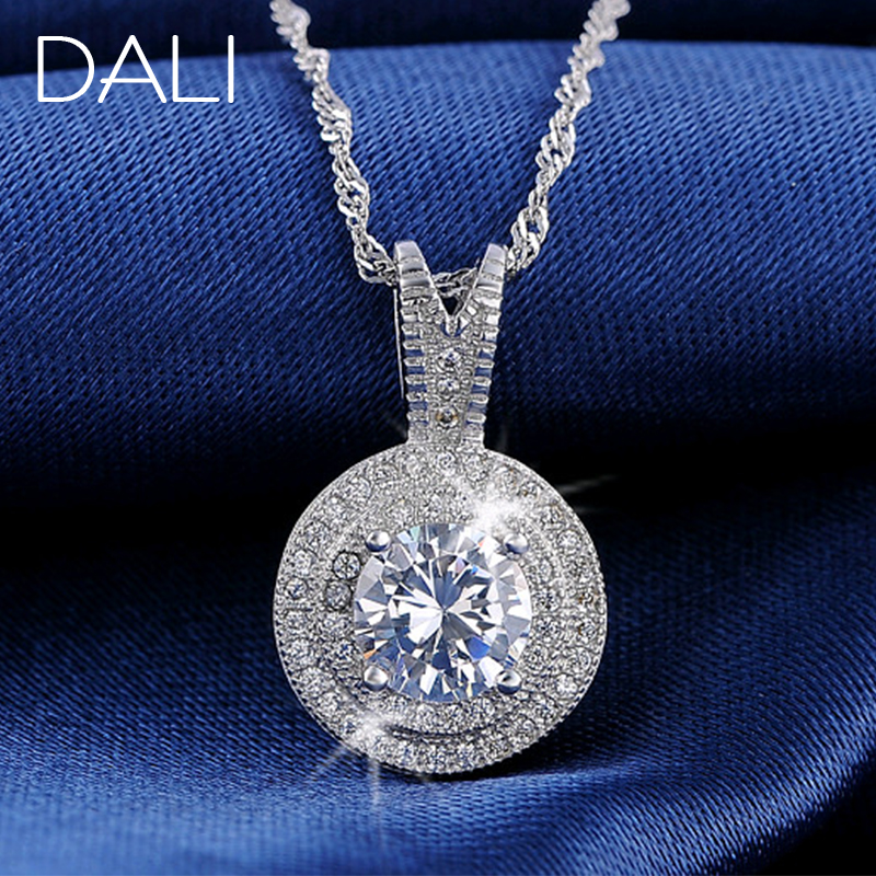 Гаджет  DALI Heats and Arrows Cut 925 Silver Zircon Pendant Necklace for Women DN87 None Ювелирные изделия и часы