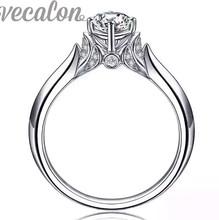 Vecalon 2016 Новые модные свадебные кольца для женщин 1ct Имитация алмазный Cz Стерлингового Серебра 925 Женский Обручальное кольцо Палец кольцо(China (Mainland))