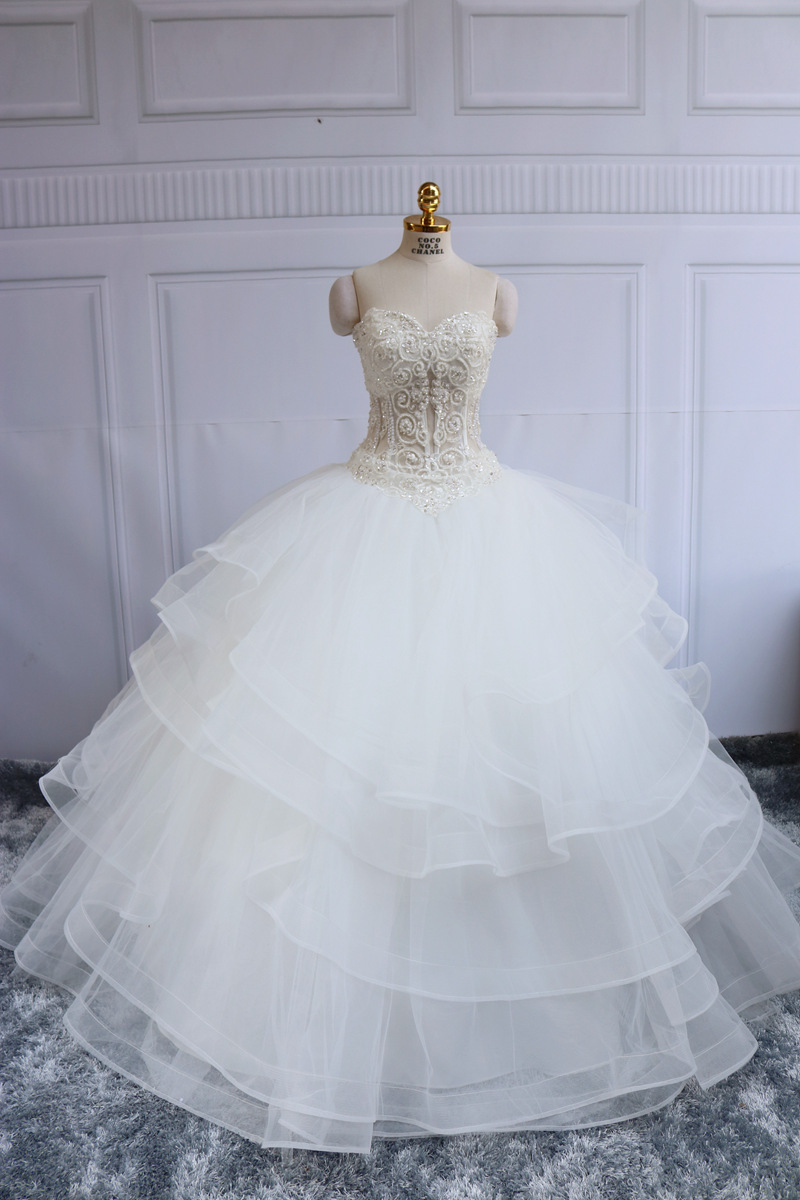 Xggandxrr puffy luxury ball gown wedding dress 2016 bridal for Very puffy wedding dresses