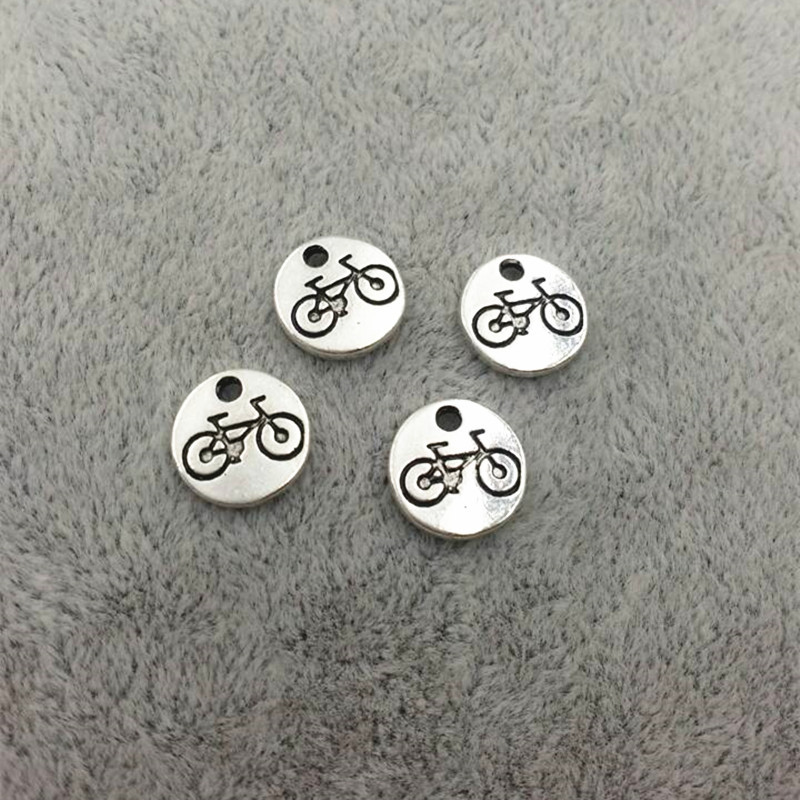 Vintage Ancient Silver Zinc Alloy Round Tag bike Charms For Jewelry Pendant with hole Making Wholesale 10mm<br><br>Aliexpress