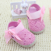 The New Lace Bow Princess Baby Toddler Shoes 0-1 Years Childrens Pink White(China (Mainland))