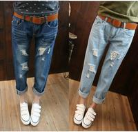 Top Quality 2015 New boyfriend jeans for women ladies collapse pants ripped Denim torn Jeans pants plus Size hole feminina mujer