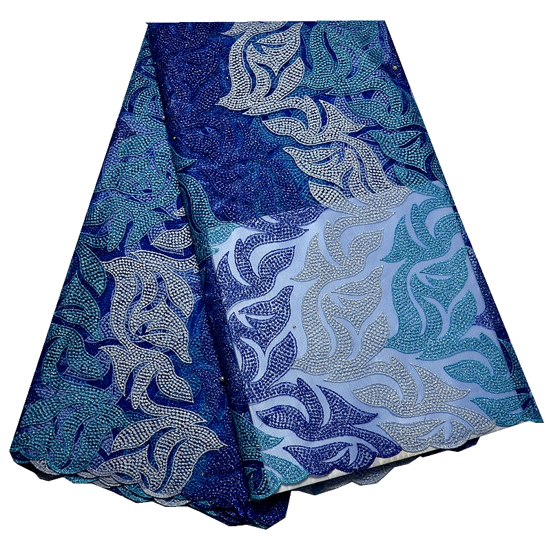 2016 Latest Teal African French Lace Fabric High Quality African Tulle Lace Fabric For Wedding dress blue and white fashion(China (Mainland))