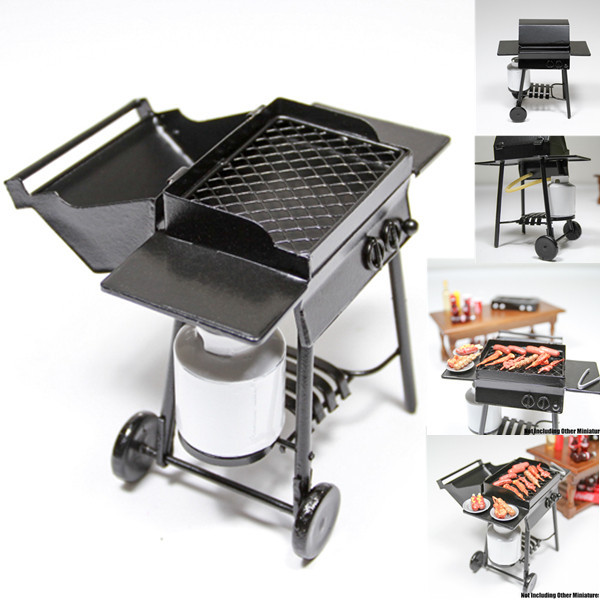 1:12 Iron BBQ Grill Miniature Garden Outdoor With Propane Tan for Orcara Re-ment Dolls Accessories(China (Mainland))