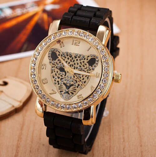 2016 New Rhinestone Leopard Quartz Fashion Watch Women Luxury Brand Watches Geneva Silicone Casual Dress Wristwatches White Hour - Shine Factory store