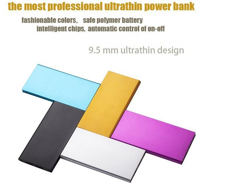 9mm Ultrathin Portable Aluminum 8000 mah Power bank 6000mah Li-Polymer External Battery Pack For iphone Samsung phones charger