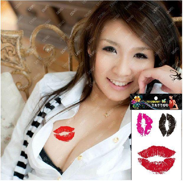 Sex Products Temporary Tattoo Tatoo For Weman Waterproof Stickers makeup maquiagem make up Red black pink lips tattoo WM151(China (Mainland))