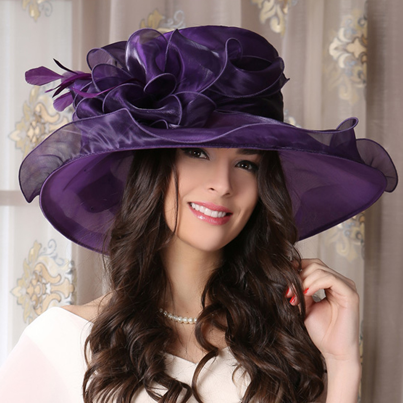 Purple Large brim sun hat for ladies womens flower summer kentucky derby hat(China (Mainland))