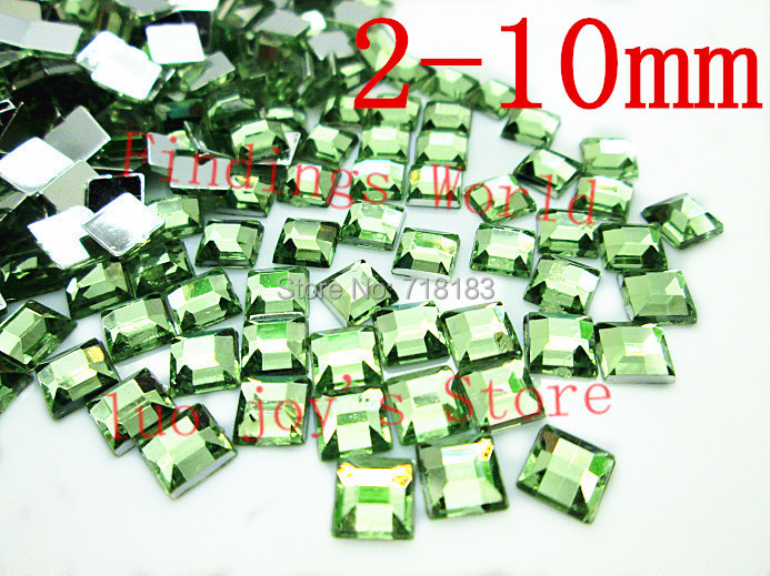 Wholesale Green Square Faceted Acrylic Rhinestone Drilling Flatback Scrapbooking Beads Decoration For Mobile Nail Art (W00760)(China (Mainland))