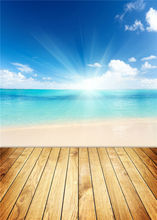 Sand Beach Photo Studio Ocean Background Vinyl Scenic Photography Backdrops Wooden Floor 5x7ft or 3x5ft JieQX300