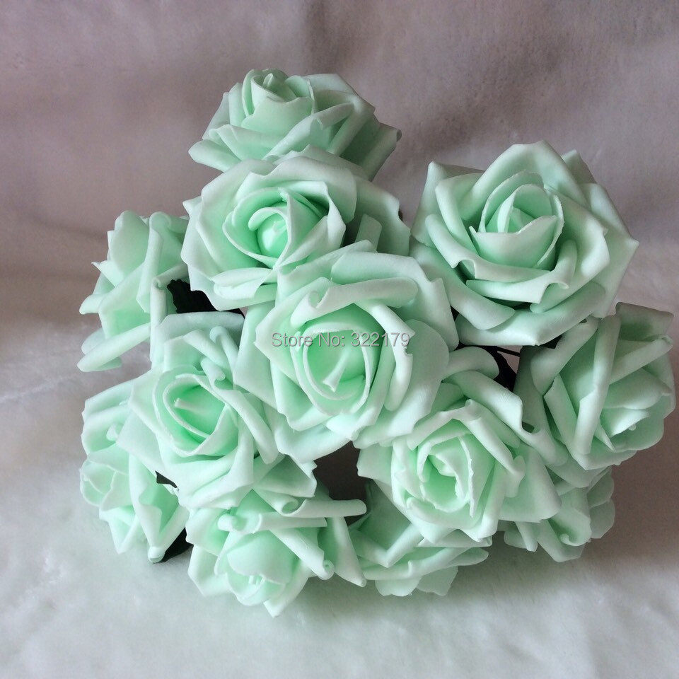 buy 72pcs free shipping mint green artificial flowers bridal bouquet wedding. Black Bedroom Furniture Sets. Home Design Ideas