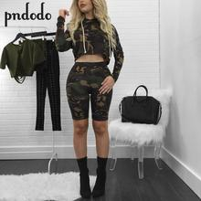 Buy Pndodo Women Camouflage Suits Long Sleeve Camo Crop Tops Slim Fit Short Pant Fashion Brand Two Piece Sets for $12.92 in AliExpress store