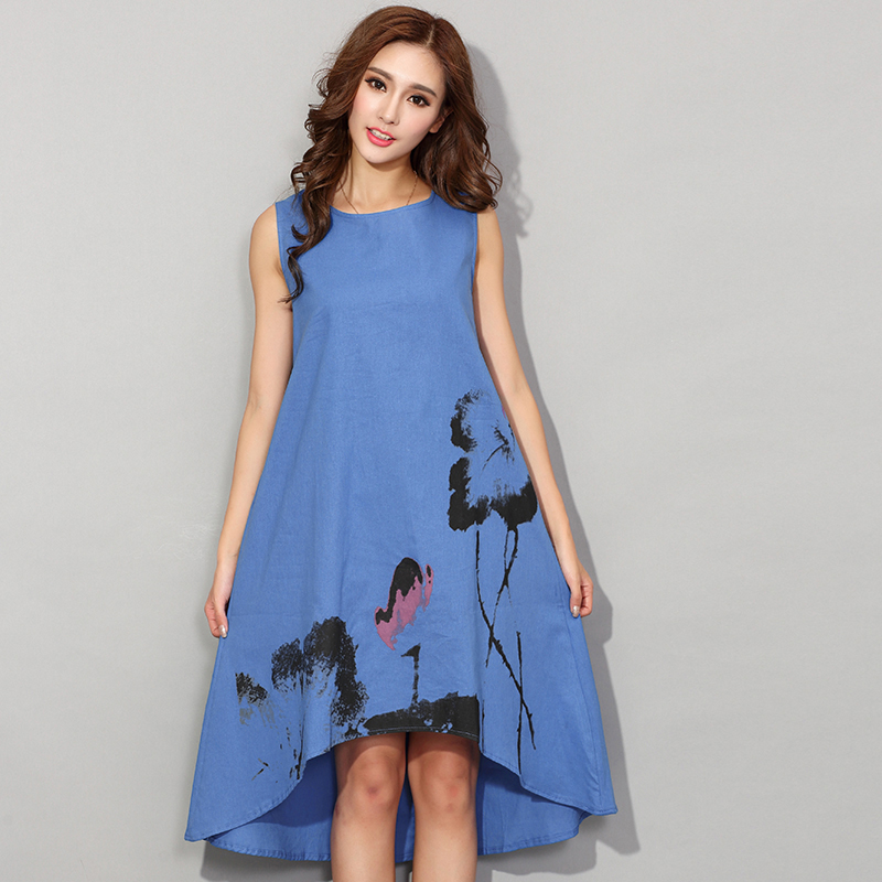 New 2016 Fashion China Style Flower Print Sleeveless Comfortable Cotton Linen Casual Dress Women Summer Dresses Hot Sale H192(China (Mainland))