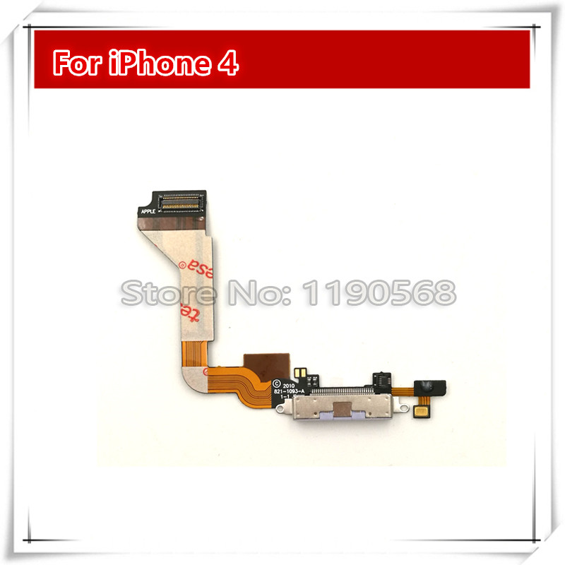 10pcs /lot High Quality NEW Dock connector charging port flex cable for iPhone4G 4S black/white Replacement Parts Free shipping(China (Mainland))