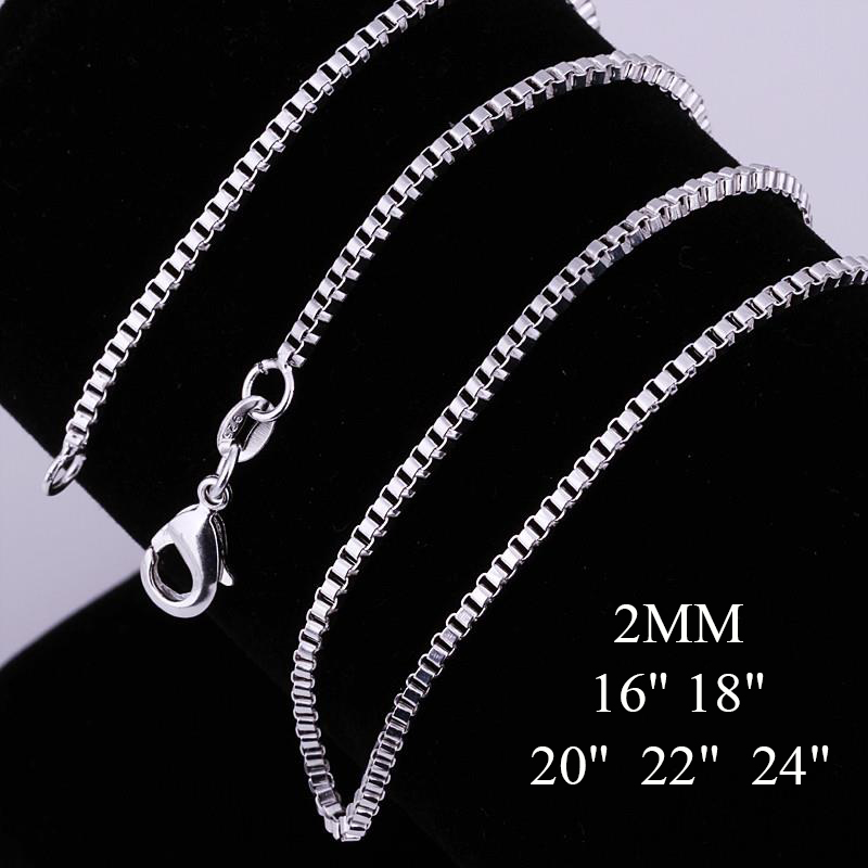 VNFNMI Brand Silver Box Chains Necklaces 2MM 16-24inch Lobster Clasp Silver Plated Snake Chain Necklace for Women/Men Never Fade(China (Mainland))