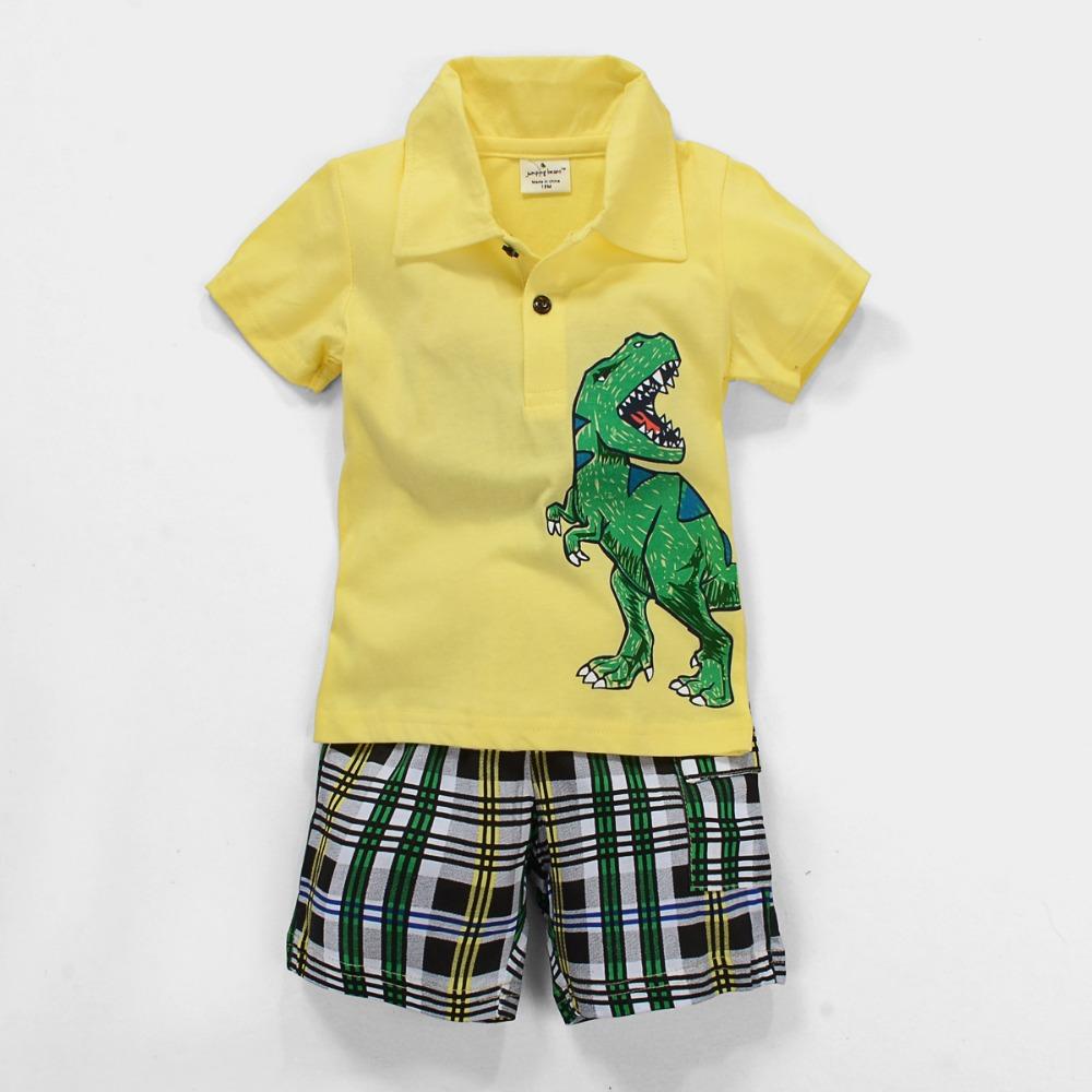 Infant Baby Boys Kids Cotton Short sleeved Dinosaur Yellow Tees Polo T-Shirts Tops Short pants Boys Clothing set 18M-6T(China (Mainland))