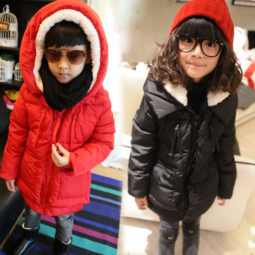 Free shipping Winter new boys girls lambs wool hooded cotton quilted jacket children clothing<br><br>Aliexpress