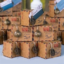 Brown Kraft DIY Vintage Inspired Airmail Favor Box Kit Wanderlust Travel Candy Box with Globe and Compass Charms12pcs(China (Mainland))