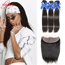 Virgo Hair Company Straight Brazilian Hair Full Lace Frontal Closure Free Part With Bundles 3 Bundles Fashion Full Lace Frontal