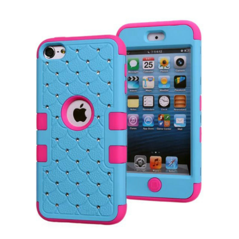 Touch 6 Hybrid Bling Crystal Diamond Case 3 in 1 High Impact Heavy Duty Hard Rugged Case Cover For Apple Touch 6(China (Mainland))