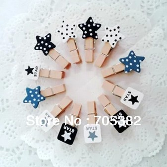 New classic white and black star mini wood clips with cord,paper clips,DIY stationery(SS-7519)<br><br>Aliexpress