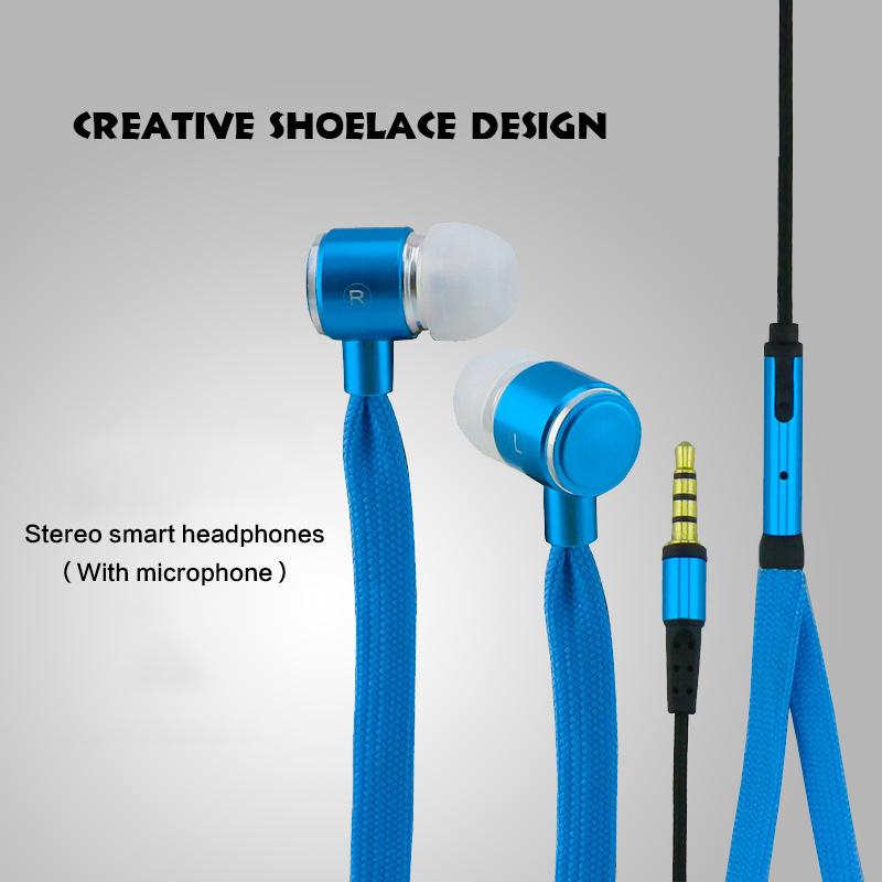 Shoelaces Earphone Stereo Metal Bass Headphones Headset Music Earpieces Microphone iPhone Xiaomi Samsung Sport