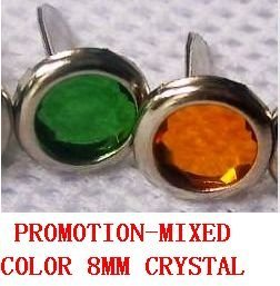 PROMOTION! Wholesale Scrapbooking jewel brads, rhinestone / crystal brads, 8mm, Mixed color + Free Shipping