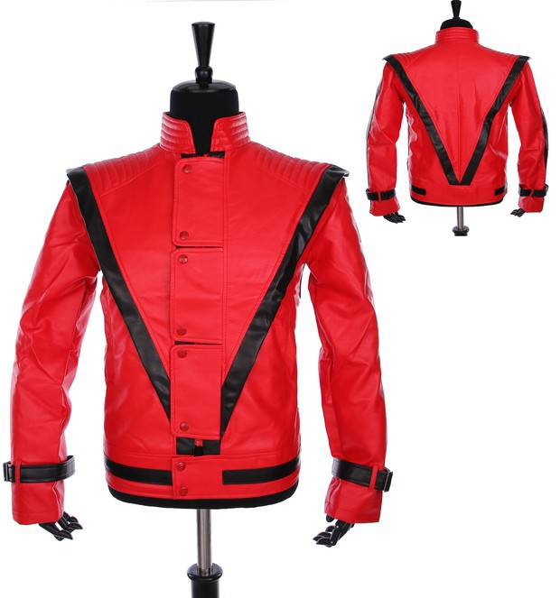 Free-shipping-Wholesale-Michael-Jackson-leather-thriller-Red-jacket-All-Size