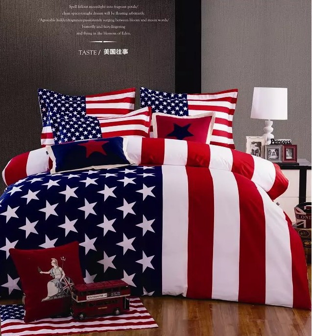 American flag bedding set queen size duvet cover bedspread bed in a bag sheet fashion home 100% cotton thicken winter(China (Mainland))