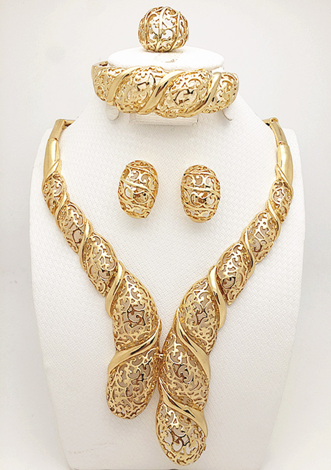 Hot African Costume Necklace Set Gold & Silver Plated Crystal Rhinestone Women Bridal Wedding Fashion Jewelry Set Party Gift(China (Mainland))