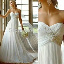 Vestido De Noiva 2015 Modische Kleid Weiß/Elfenbein A-Line Chiffon Romantische Hochzeit Kleid Vestido De Casamento Robe De Mariage(China (Mainland))