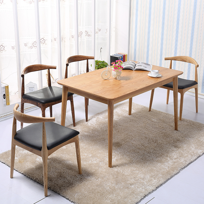 Solid Wood Dining Tables And Chairs Combination Of Modern