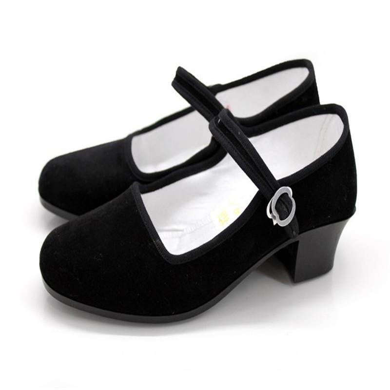 Tradicional china zapatos mujeres negro viejos del paño de pekín zapatos de trabajo ocasionales de lona transpirable para caminar pisos calzado US9(China (Mainland))