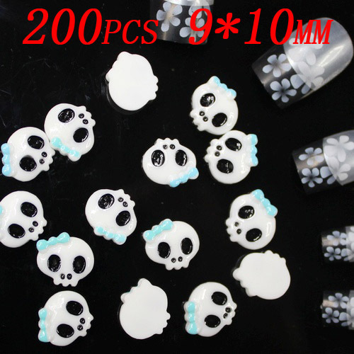 Wholesale 200pcs 10x9mm white skull resin Flatback 3d nail stickers applique for nail art